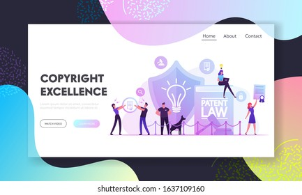 Patent Law Website Landing Page. Safeguard with Dog and People Protecting Rights for Authorship and Creation of Different Mental Invention Products Web Page Banner. Cartoon Flat Vector Illustration