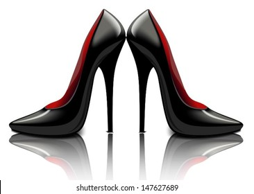 Patent leather black shoes, vector illustration