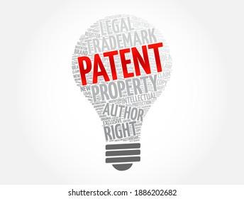 Patentlampe Wort Cloud Collage, Concept-Hintergrund