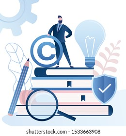Patent Office, Bureau banner. Man clerk  holding Copyright symbol. Pile of books,idea bulb and protection shield.Legal consultation. Intellectual property defence. Authorship protection service.Vector