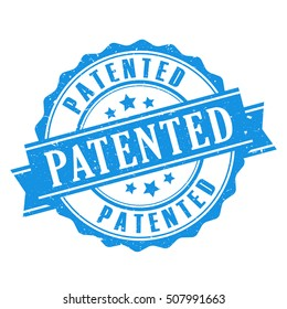 Patented seal icon vector illustration isolated on white background. Patented stamp. Patented ribbon emblem.