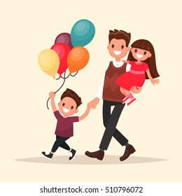 Paternity. Father with son and daughter  having fun. Vector illustration in a flat style
