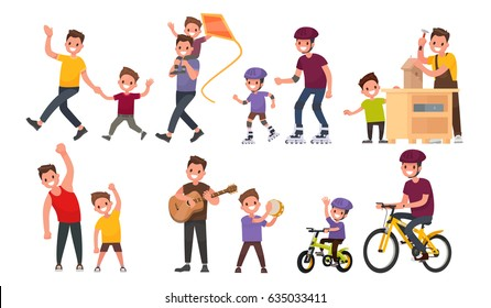 Paternity. Father and son walk, roll on roller and bicycles, play musical instruments, perform exercises. Vector illustration in a flat style