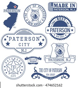 Paterson city, New Jersey. Set of generic stamps and signs.