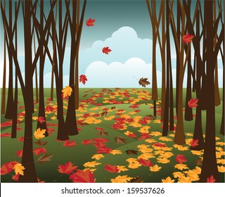 Path in an autumn forest. EPS 10 vector, grouped for easy editing. No open shapes or paths.