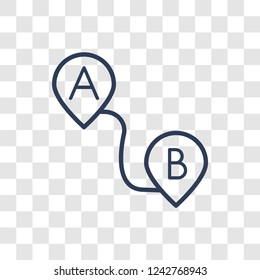 Path A to B icon. Trendy linear Path A to B logo concept on transparent background from Maps and Locations collection