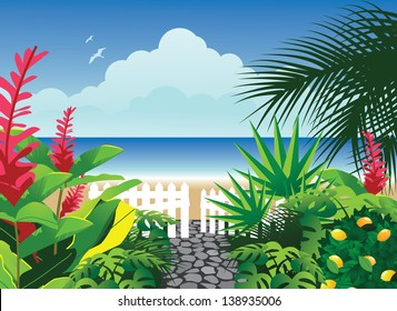 Path to the beach. EPS 10 vector, grouped for easy editing. No open shapes or paths.