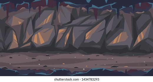 Path is crossing the dark cave game background tillable horizontally, dark terrible empty place with rock walls in side view, dangerous dungeon illustration