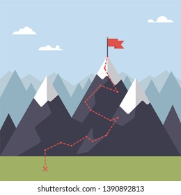 Path to flag on mountain peak flat design vector illustration. Way to success concept.