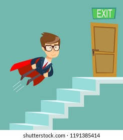 Path to the goal, Business concept growth to success, Reach the target, Cartoon vector illustration