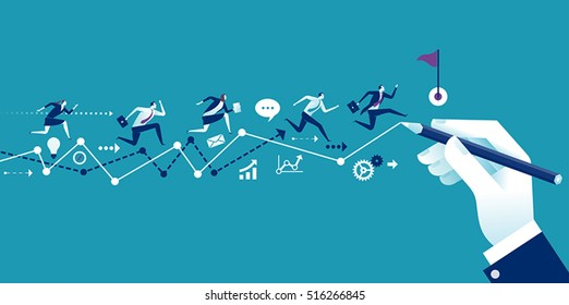 Path to the goal. Businessmanâ??s hand drawing a line leading to the goal. Business vector concept illustration