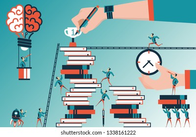 Path to the goal. men compete to hit  a drawing reward. vector concept illustration