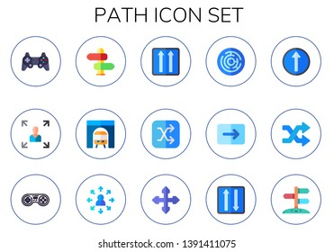 path icon set. 15 flat path icons.  Collection Of - game controller, decision making, direction, tunnel, one way, shuffle, labyrinth, straight, opportunity, two ways
