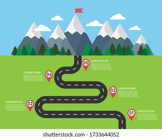 path infographic on top mountain. 5 options point template. Winding roads in green fields to the mountains. Summer landscape background. route trip travel to nature. vector illustration flat design.