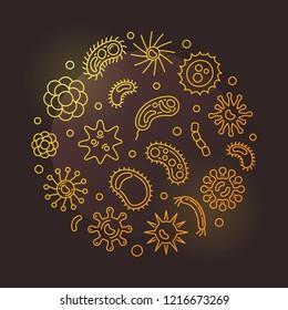Pathogen and viruses round vector golden illustration in thin line style on dark background
