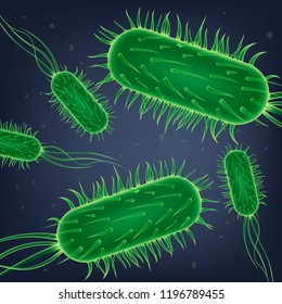Pathogenic Bacteria, Virus Cells or Dangerous Microbe Realistic Vector. Colony of Parasitic Microorganisms, Intestinal Microflora, Illustration. Water Biological Pollution, Food Poisoning Concept