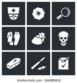 Pathologist and morgue icons: autopsy and to establish cause of death. Vector Illustration.