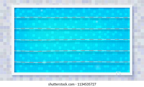 Paths for dip in the pool, top view. Blue ripped water in Olympic sport pool. The texture of the water and ceramic lining of the pool, flat lay. Vector template for events, cover
