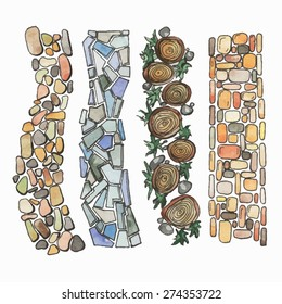The paths drawn with a water color from a stone and wood for landscaping. Vector illustration.
