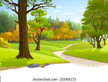 Pathway through a blissful forest