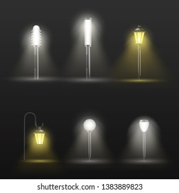 Pathway, walkway outdoor lamps in modern and classic design on short pillar glowing in darkness with light spot on ground 3d realistic vector set isolated on black background. Flowerbed illumination