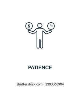 Patience icon. Thin outline creative Patience design from soft skills collection. Web design, apps, software and print usage.