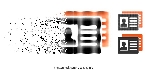 Patient accounts icon in disappearing, pixelated halftone and undamaged solid variants. Elements are arranged into vector disappearing patient accounts icon. Disappearing effect uses rectangle pixels.