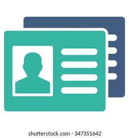 Patient Accounts vector icon. Style is bicolor flat symbol, cobalt and cyan colors, rounded angles, white background.