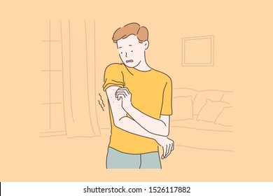 Patient allergic reaction, eczema symptoms concept. Man with rash on arm, scared boy scratching itch pimples, frightened guy skin irritation in ankle area. Simple flat vector