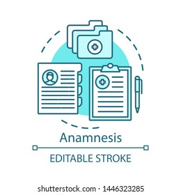 Patient anamnesis concept icon. Clinical service idea thin line illustration. Therapy. Case history, tests, medical recipes. Healthcare database. Vector isolated outline drawing. Editable stroke