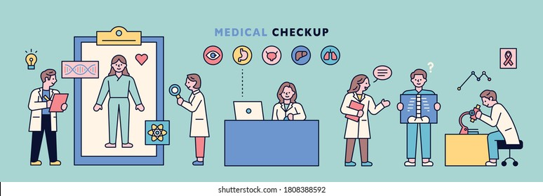 A patient is being examined in a hospital laboratory. flat design style minimal vector illustration.
