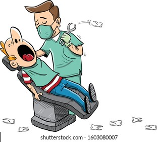 patient with big open mouth sitting on dentist chair extracting teeth