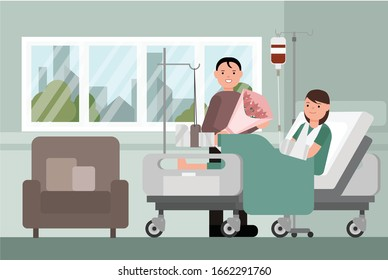 Patient with broken leg lying in hospital. Hospitalization of the patient. A sick person is in a bed. Vector