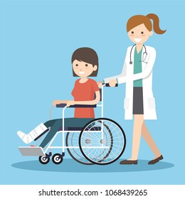 Patient with broken leg and plaster.People in hospital transporting person unable to walk. Medicine, healthcare concept. Vector flat style cartoon illustration.