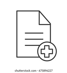 Patient card linear icon. Thin line illustration. Text file with star of life. Medical insurance. Contour symbol. Vector isolated outline drawing