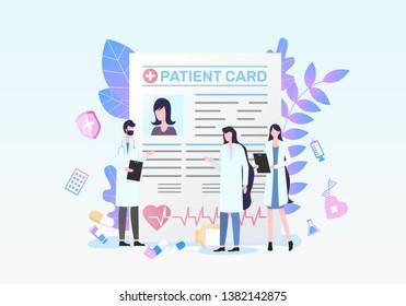 Patient Card Man Woman Doctor Medical Diagnosis Discussion Female Nurse Vector Illustration. Record Paper Document Information Treatment Prescription Medication Healthcare Insurance
