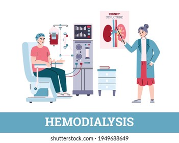Patient connected to hemodialysis machine and doctor cartoon vector illustration.