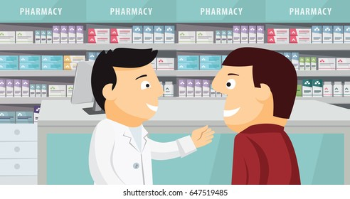 The patient consults with the pharmacist. Modern interior pharmacy and drugstore. Sale of vitamins and medications. Funny cartoon flat vector simple illustration.