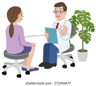 Patient and Doctor - Doctor is explaining about exam to his young female patient at his room.