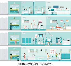 Patient And Doctor in hospital,surgery operation room, post-operation ward, laboratory, medical check up interior room,cardiology center, dental care, characters health care vector illustration.