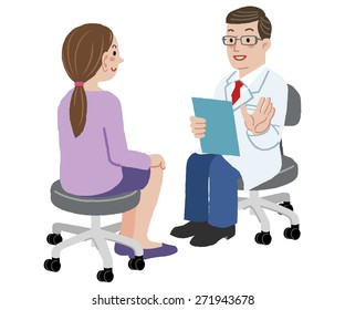 Patient and Doctor - Doctor is talking to woman about her health after exam