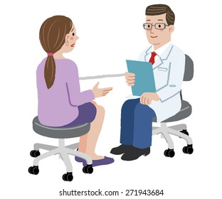 Patient and Doctor - Woman is talking with the doctor about her health complaints.