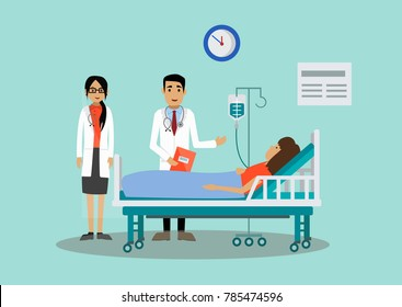 The patient is at the doctor's reception. Vector illustration.