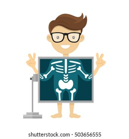 Patient during x-ray procedure. Vector radiologist  x-ray flat character cartoon illustration. Isolated on white background xray, checkup, scan bone