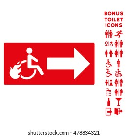 Patient Exit icon and bonus gentleman and female WC symbols. Vector illustration style is flat iconic symbols, red color, white background.