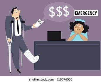 Patient with his leg in a cast chocked by a high hospital bill, emergency room reception on the background, EPS 8 vector illustration