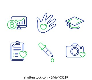 Patient history, Bitcoin chart and Chemistry pipette line icons set. Graduation cap, Social responsibility and Photo camera signs. Medical survey, Cryptocurrency statistics, Laboratory. Vector