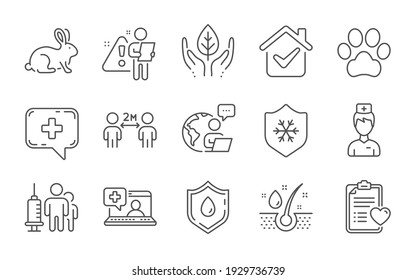 Patient history, Dog paw and Animal tested line icons set. Medical chat, Medical vaccination and Social distancing signs. Blood donation, Fair trade and Serum oil symbols. Doctor, Clean skin. Vector