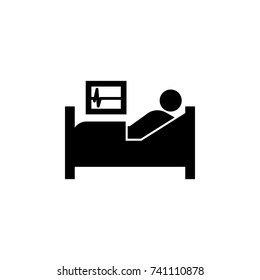 patient in hospital bed icon on white background