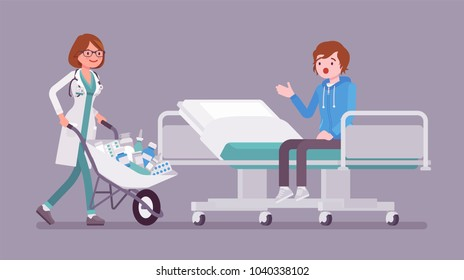 Patient and hospital doctor with cart full of medicines. Man in clinic given a heap of drugs to take, too much pills prescribed. Medicine and healthcare concept. Vector flat style cartoon illustration